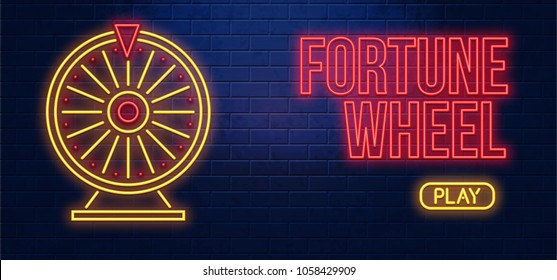 fortune wheel neon sign isolated on brick wall