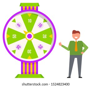 Fortune wheel with numbers vector, isolated character spinning circle for luck. Gambler wearing tie and smiling. Male playing for money, businessman hoping for success and victory flat style