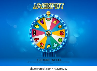 fortune wheel spinning  on bokeh background vector illustration