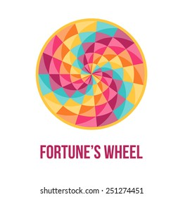 Fortune wheel - symbol of good luck - with abstract geometric pattern. Vector illustration.