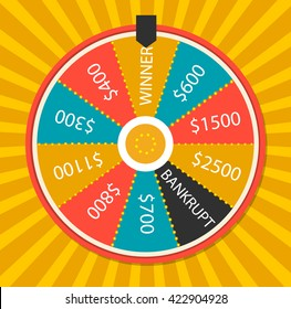 Fortune wheel vector illustration. Colorful lucky wheel template. Prize, winner game, fortune, money win, casino, lottery.