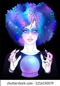 Fortuneteller with crystal ball and magic sky in her afro hair. vector illustration. Gothic design, mystic magic symbol, pastel colors. Future telling, Halloween concept.