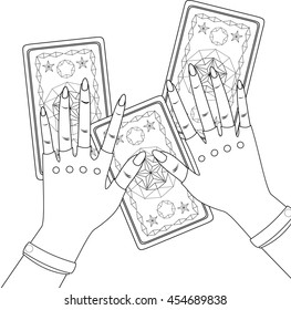 Fortune-tellers hands holding tarot cards. Coloring. Vector.