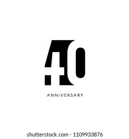 Forty anniversary, minimalistic logo. Fortieth years, 40th jubilee, greeting card. Birthday invitation. 40 year sign. Black negative space vector illustration on white background