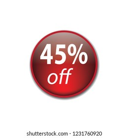 Forty five persent off vector button, web design element