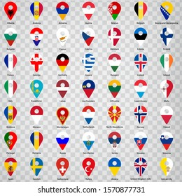 Forty nine flags of European countries - alphabetical order with name.  Set of 2d geolocation signs like national flags of  Europre. Forty nine geolocation signs for your web site design, logo, app.
