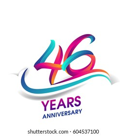 forty six years anniversary celebration logotype blue and red colored. 46th birthday logo on white background.