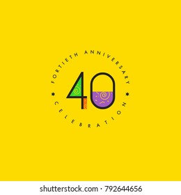 Forty years, 40th Anniversary Celebration Logo Design, Number 40 Icon Vector Template.