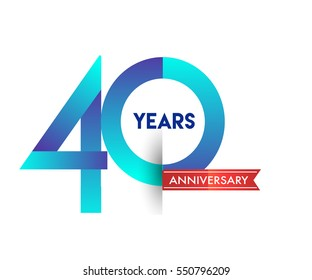 forty years anniversary celebration logotype blue colored with red ribbon, 40th birthday logo on white background.