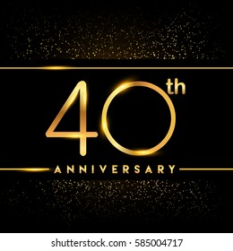 forty years anniversary celebration logotype. 40th anniversary logo with confetti golden colored isolated on black background, vector design for greeting card and invitation card.