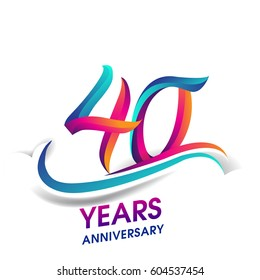 forty years anniversary celebration logotype blue and red colored. 40th birthday logo on white background.