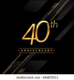 forty years anniversary celebration logotype. 40th anniversary logo golden colored isolated on black background, vector design for greeting card and invitation card.