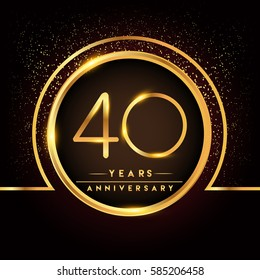 forty years birthday celebration logotype. 40th anniversary logo with confetti and golden ring isolated on black background, vector design for greeting card and invitation card.