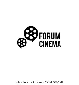 forum cinema Studio Movie Video Cinema Cinematography Film Production concept film roll as a bubble chat logo design vector icon illustration Isolated White Background