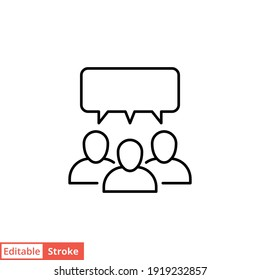 Forum discussion line icon. Testimonials and customer relationship management concept. Simple outline style. Vector illustration isolated on white background. Editable stroke EPS 10.