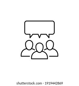 Forum discussion line icon. Testimonials and customer relationship management concept. Simple outline style. Vector illustration isolated on white background. EPS 10.