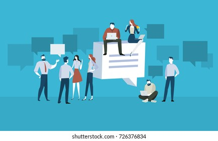 Forum. Flat design people and technology concept. Vector illustration for web banner, business presentation, advertising material.