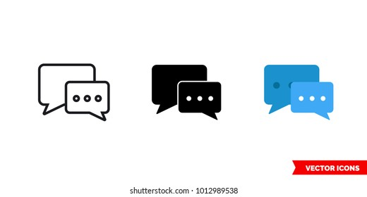 Forum icon of 3 types: color, black and white, outline. Isolated vector sign symbol.