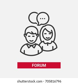 Forum - modern vector single line design icon. A black and white image of two people, man, woman having a conversation, talking to each other, word bubble. Chat, network online conversation symbol