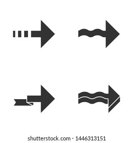 Forward arrows glyph icons set. Dotted, folding, next, forward arrows. Rightward direction. Indicating arrowhead. Navigation symbol. Pointing sign. Silhouette symbols. Vector isolated illustration