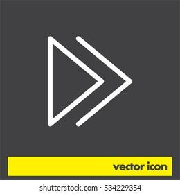 Forward button sign line vector icon. UI control Forward button. Next arrow icon. Right direction symbol.