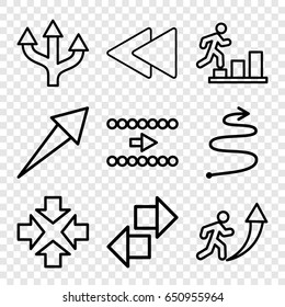 Forward icons set. set of 9 forward outline icons such as play back, curved arrow, move, man going up