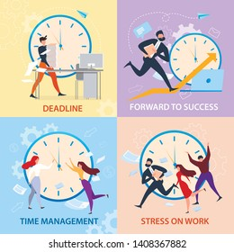 Forward to Sucess, Time Management, Stress on Work, Deadline Banner Set. Cartoon People Run. Work Problem, Schedule Organization. Winner Strategy, Career Promotion. Overtime Paperwork Vector