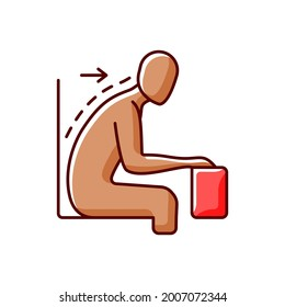 Forward tilted sitting position RGB color icon. Rounded shoulders and hunched stance. Slouched position at desk. Neck and back pain. Keeping spine misaligned. Isolated vector illustration