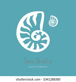 Fossil ammonite nautilus seashell vector logo set. Isolated vector of  seashells, ancient ammonite fossil logo, card. Hand drawn illustration spa salon, seafood cafe, restaurant, corporate identity.