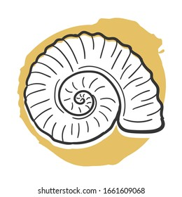 Fossil Archeology Traditional Doodle. Icons Sketch Hand Made. Design Vector Line Art.