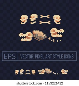 Fossil bone. Archaeological find. Ancient animal bones. Dinosaur skeleton. Prehistoric human skull. Isolated pixel art vector illustration. Design for logo and mobile app. 8-bit sprite.