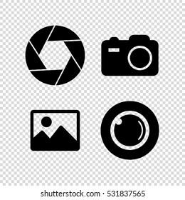 フォトカメラのベクター画像アイコンセット