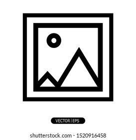 foto icon in a trendy flat style that is isolated on a white background. Suitable for various purposes.