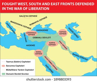 fought west, south and east fronts defended in the war of liberation turkish history map