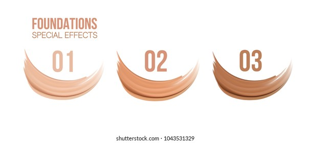 Foundation beige liquid .Cosmetic make up.  smudges range of colors on white background.transparent. Beige concealer strokes. Vector Illustration