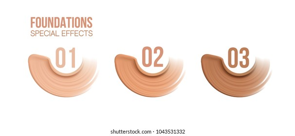 Foundation beige liquid .Cosmetic make up.  smudges range of colors on white background.transparent. Beige concealer strokes. Vector Illustration
