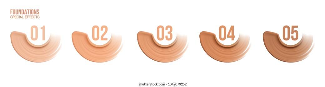 Foundation beige liquid .Cosmetic make up.  smudges range of colors on white background.transparent,palette,different shades. Beige concealer strokes. Vector Illustration.