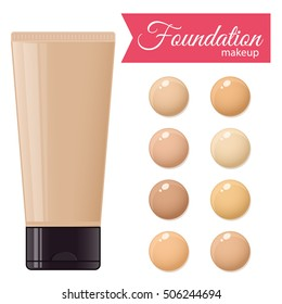 Foundation cream for mackeup and color palette. Vector stock illustration.