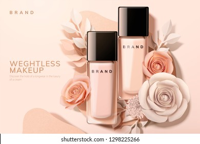 Foundation in glass bottle with paper flowers, 3d illustration