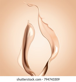 Foundation liquid elements, splashing complexion liquid in 3d illustration