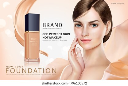 Foundation makeup ads, pretty model in short hair with foundation container and cream texture isolated on bokeh background in 3d illustration