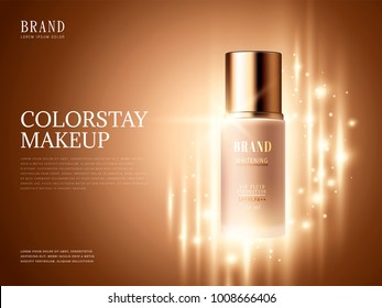 Foundation product ads, makeup essential product with glittering elements in 3d illustration