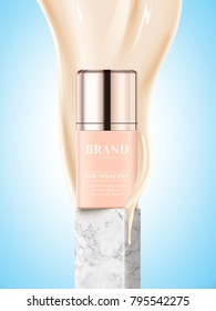 Foundation product package design, cosmetic bottle with flowing complexion liquid in 3d illustration