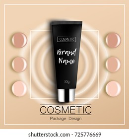 foundation template design packaging of cosmetics Top view