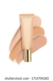 Foundation in tube on white background, concealer smears for advertising cosmetics. Vector