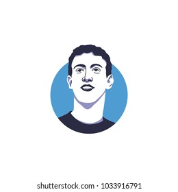 Founder and CEO of Facebook Inc, Marc Zuckerberg face vector illustration isolated