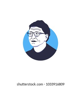 Founder Microsoft Inc, also richest man in the world 2017 Forbes edition, Bill Gates face vector illustration isolated