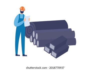 Foundry or steel rolling industry factory worker or engineer keeps records of metallurgical products, flat vector illustration isolated on white background.