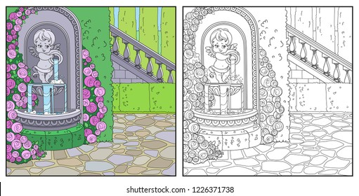 Fountain Cupid with a jug rose overlaid in a secluded corner of the palace park color and outlined for coloring