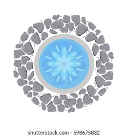 Fountain with flowing water top view vector illustration.